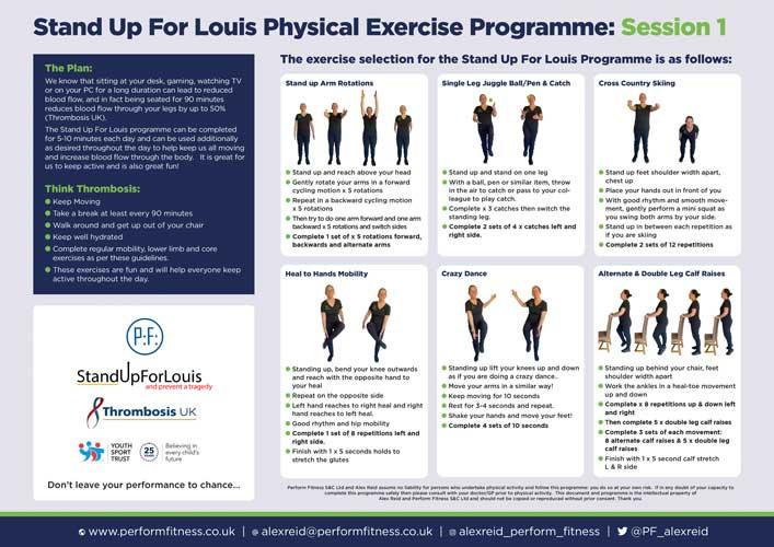 #standupforlouis exercises poster a4 session 1